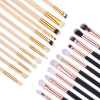 12 Pcs/Kit Eyeshadow Smudge Brush Soft Hair Black Nude Handle Nasal Shadow Brushes Cosmetic Tools