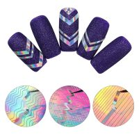 8 Sheets Adhesive Laser Holo 3D Nail Sticker Ultra Wave Line Nail Decals Manicure Sticker