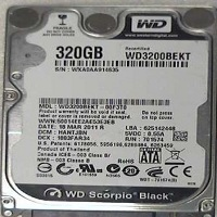 320GB Western Digital WD3200BEKT
