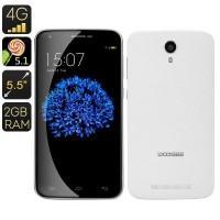 Doogee Y100 Plus Smartphone – 4G, 5.5 Inch 720P Display, Quad Core CPU, 2GB RAM, Smart Wake, HotKnot (White), 8 Megapixel Rear Camera