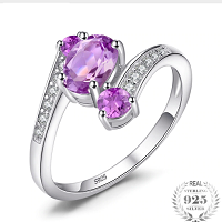 925 Sterling Silver 0.9ct Natural Amethyst 3 Stone Anniversary Ring Solid 925 Sterling Silver