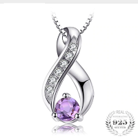 Natural Amethyst Necklace  Real Pure 925 Sterling Silver Fine Jewelry