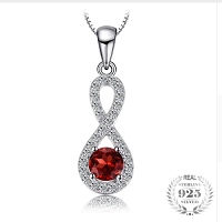0.9 ct Round Natural Garnet Infinity Necklaces Pendant 925 Sterling Silver Chain