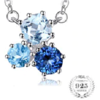 1.7ct Genuine Multi London Blue Topaz Pendant Necklace 925 Sterling Silver