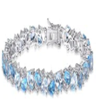 Luxury 23ct Multi London Blue Topaz Link Tennis Bracelet Real 925 Sterling Silver jewelry