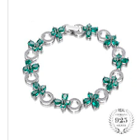Butterfly Shape 6.8ct Created Emerald Tennis Bracelets  Authentic 925 Sterling Silver