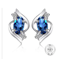 Oval 1.1ct Natural London Blue Topaz Stud Earrings 925 Sterling Silver