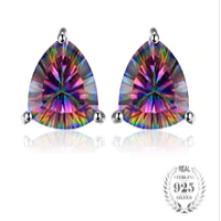 Classic Rainbow Fire Mystic Topaz Genuine 925 Sterling Silver Stud Earrings