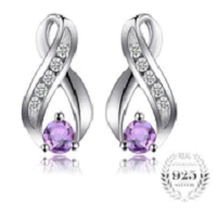0.3ct Round Natural Amethyst Stud Earrings For Women Solid 925 Sterling Silver