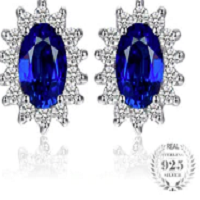 Kate Middleton's 1.5ct Created Blue Sapphire Stud Earrings Pure 925 Sterling Silver Jewelry