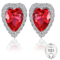 Heart 4ct Pigeon Blood Red Ruby Stud Earrings Solid 925 Sterling Silver Jewelry