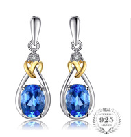 Love Knot 1.9ct Natural Blue Topaz Earrings Dangle Diamond Solid 925 Sterling Silver 18K Yellow Gold