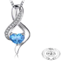 Heart Love 0.6ct Genuine Blue White Topaz Pendant 925 Sterling Silver Necklace 925 Sterling Silver