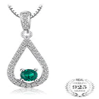 Elegance Pear Nano Russian Simulated Emerald Drop Pendant Necklace Pure 925 Sterling