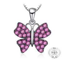 Butterfly 0.7ct Created Ruby Pendant Necklace For Women 925 Sterling Silver.