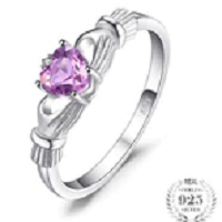 Heart 0.5ct Irish Claddagh Natural Amethyst Birthstone Promise Ring 925 Sterling Silver Jewelry