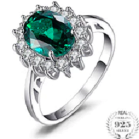 Green Emerald 925 Sterling Silver Fashion Princess Diana Engagement Wedding Ring