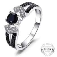 Elegant 0.8ct Natural Black Spinel Wedding Bands Rings For Women Genuine 925 Sterling Silver