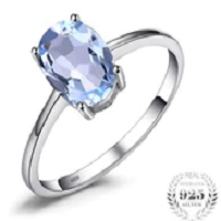 Oval 1.5ct Natural Sky Blue Topaz Birthstone Solitaire Ring Solid 925 Sterling Silver