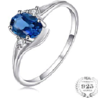 0.9ct Natural London Blue Topaz Solitaire Engagement Ring 925 Sterling Silver