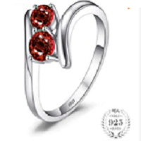 Fashion 0.95ct Natural Red Garnet 2 Stone Wedding Bands Rings For Love 925 Sterling Silver